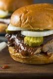 Homemade Smoked BBQ Rib Sandwich Stock Photos