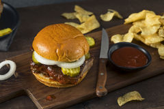 Homemade Smoked BBQ Rib Sandwich Royalty Free Stock Image
