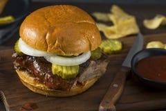 Homemade Smoked BBQ Rib Sandwich royalty free stock images