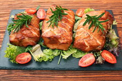 Homemade smoked ham on a board Royalty Free Stock Photos