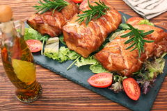 Homemade smoked ham on a board Stock Images