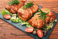 Homemade smoked ham on a board Royalty Free Stock Images