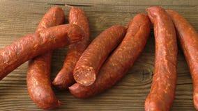 Homemade smoked sausage stock video footage