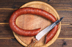 Homemade smoked sausage Royalty Free Stock Photography