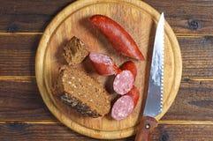 Homemade smoked sausage Stock Photos