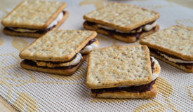 Homemade smores. Placed on tablecloth Royalty Free Stock Images