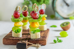 Homemade snacks with various fruits and mint Royalty Free Stock Images
