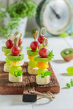 Homemade snacks with various fruits and mint Stock Photography
