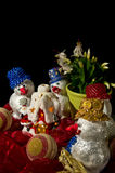Homemade snowmen decorations Royalty Free Stock Photo