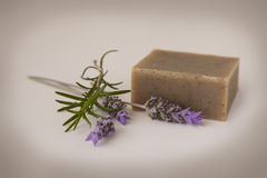 Homemade Soap. With lavender and rosemary - antique filter stock photography