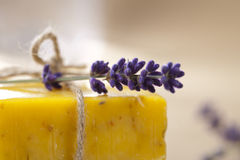 Homemade soap bar with lavender flower Stock Photos
