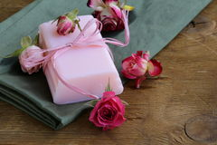 Homemade soap with roses Stock Photography