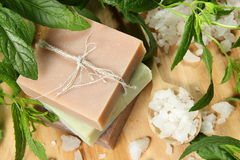 Homemade Soap and Sea Salt. With Mint Leaves stock photography
