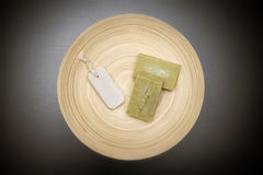 Homemade Soaps And Pumice Stone On A Wooden Plate Stock Photos