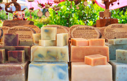 Homemade soaps. View of homemade soaps in the street market Royalty Free Stock Photo