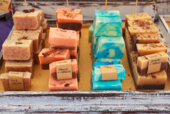 Homemade soaps. View of homemade soaps in the street market Royalty Free Stock Photography