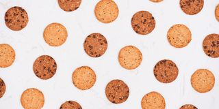 Homemade soft and chewy chocolate chip cookies. Top view.  royalty free stock image