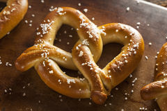 Homemade Soft Pretzels with Salt Royalty Free Stock Photo