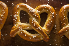 Homemade Soft Pretzels with Salt Stock Photos