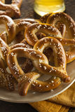 Homemade Soft Pretzels with Salt Royalty Free Stock Photography
