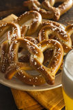 Homemade Soft Pretzels with Salt Royalty Free Stock Photos
