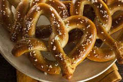 Homemade Soft Pretzels with Salt Stock Photography