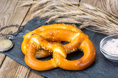 Homemade soft pretzels with sesame seeds and sea salt Stock Images