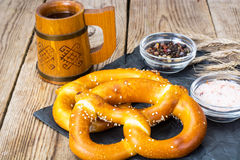 Homemade soft pretzels with sesame seeds and sea salt Royalty Free Stock Images