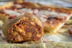 Homemade soppressata salami. Home made soppressata salami with variety of pizza Royalty Free Stock Photography