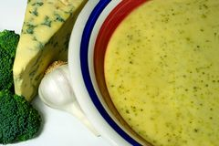 Homemade soup. Broccoli, stilton and garlic soup royalty free stock images