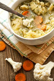 Homemade soup with cauliflower Royalty Free Stock Images