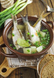 Homemade soup of river fish in the bowl Royalty Free Stock Photos
