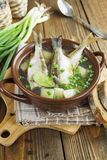 Homemade soup of river fish in the bowl Royalty Free Stock Photography