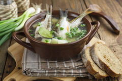 Homemade soup of river fish in the bowl Royalty Free Stock Photo
