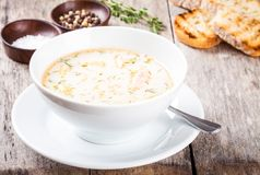 Homemade soup with salmon and cream with croutons Stock Photos