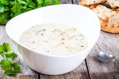 Homemade soup with salmon and cream with croutons Stock Photography