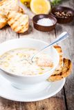 Homemade soup with salmon and cream with croutons Stock Image