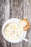 Homemade soup with salmon and cream Stock Photos