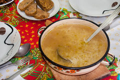 Homemade soup served at the table Stock Image