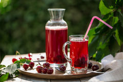 Homemade sour cherry compote in glass cup with jar on bamboo tray Stock Photo