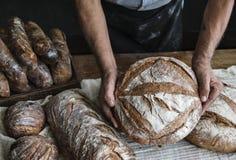 Homemade sourdough bread food photography recipe idea Royalty Free Stock Photos
