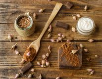 Homemade spa with natural ingredients on an old wooden background stock image