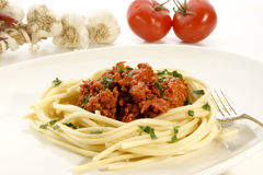 Homemade spaghetti. With minced meat sauce Royalty Free Stock Image