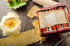 Homemade spaghetti carbonara production Royalty Free Stock Image