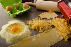 Homemade spaghetti carbonara production Stock Image