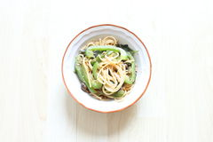 Homemade Spaghetti. A healthy bowl of vegetarian Italy Aligo E Olio Spaghetti Royalty Free Stock Photos