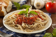 Homemade Spaghetti with Marinara Sauce Stock Images