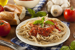 Homemade Spaghetti with Marinara Sauce Stock Photography