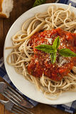 Homemade Spaghetti with Marinara Sauce Stock Photos