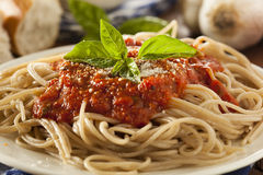 Homemade Spaghetti with Marinara Sauce. And Basil royalty free stock images